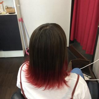 ミディアム グラデーションカラー ガーリー ダブルカラー ヘアスタイルや髪型の写真・画像