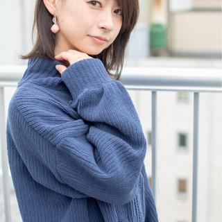 ミディアム 女子力 フェミニン オフィス ヘアスタイルや髪型の写真・画像