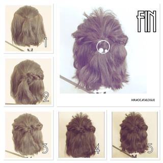 ハーフアップ ボブ 簡単ヘアアレンジ ショート ヘアスタイルや髪型の写真・画像 ヘアスタイルや髪型の写真・画像