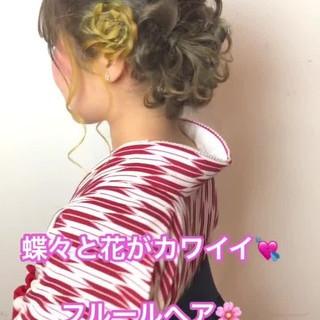 ヘアアレンジ 成人式 デート ガーリー ヘアスタイルや髪型の写真・画像