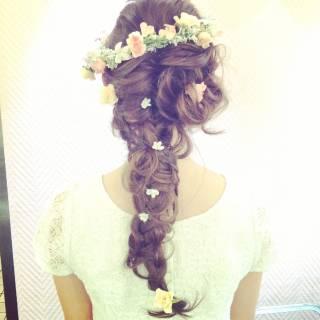 編み込み コンサバ 結婚式 ヘアアレンジ ヘアスタイルや髪型の写真・画像