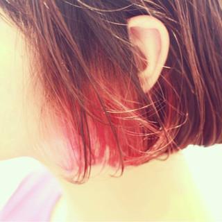 ダブルカラー ボブ モード ピンク ヘアスタイルや髪型の写真・画像