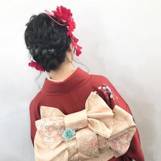 編み込み ミディアム 成人式 エレガント ヘアスタイルや髪型の写真・画像