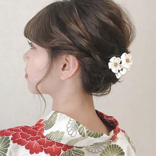 デート 簡単ヘアアレンジ フェミニン 浴衣アレンジ ヘアスタイルや髪型の写真・画像