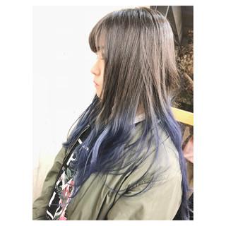 ロング ハイライト グラデーションカラー ブリーチ ヘアスタイルや髪型の写真・画像