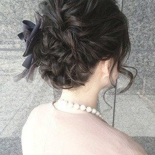 ミディアム ヘアアレンジ フェミニン こなれ感 ヘアスタイルや髪型の写真・画像