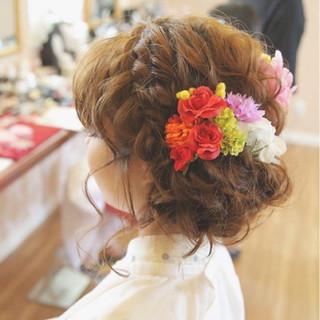編み込み ヘアアレンジ ガーリー アップスタイル ヘアスタイルや髪型の写真・画像