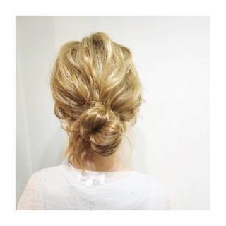 簡単ヘアアレンジ ヘアアレンジ お団子 夏 ヘアスタイルや髪型の写真・画像