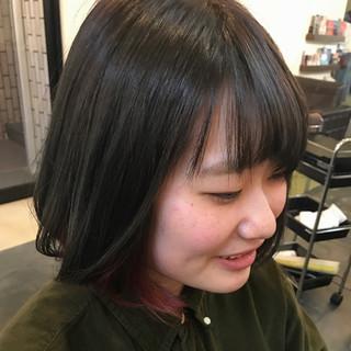 レッド インナーカラー ナチュラル ボブ ヘアスタイルや髪型の写真・画像 ヘアスタイルや髪型の写真・画像