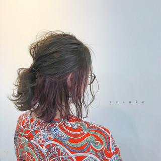 インナーカラー 簡単ヘアアレンジ ヘアアレンジ ミディアム ヘアスタイルや髪型の写真・画像