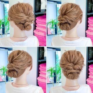 ロング ヘアセット くるりんぱ フェミニン ヘアスタイルや髪型の写真・画像