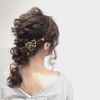 フェミニン セミロング デート ヘアアレンジ ヘアスタイルや髪型の写真・画像