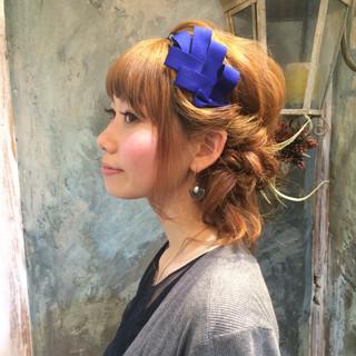 ヘアアレンジ 簡単ヘアアレンジ パーマ ハーフアップ ヘアスタイルや髪型の写真・画像