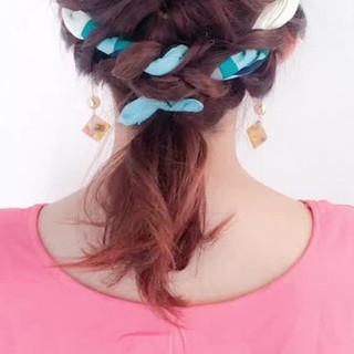リゾート ヘアアクセ ルーズ ミディアム ヘアスタイルや髪型の写真・画像