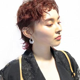 ショート モード パーマ ウルフカット ヘアスタイルや髪型の写真・画像