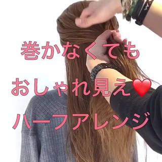 アウトドア デート ロング 簡単ヘアアレンジ ヘアスタイルや髪型の写真・画像