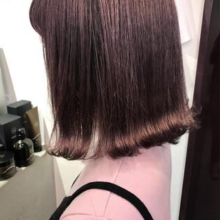 ロブ ラベンダー ミディアム フェミニン ヘアスタイルや髪型の写真・画像
