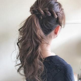 結婚式 ポニーテール 上品 ロング ヘアスタイルや髪型の写真・画像