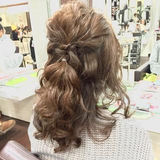 結婚式 二次会 ハーフアップ ヘアアレンジ ヘアスタイルや髪型の写真・画像