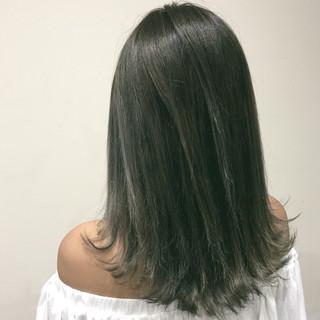 外国人風 マット ハイライト ミディアム ヘアスタイルや髪型の写真・画像