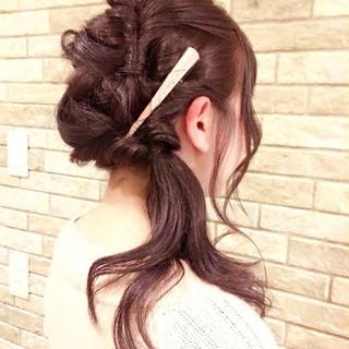 簡単ヘアアレンジ ヘアアレンジ セミロング ヘアアクセ ヘアスタイルや髪型の写真・画像 ヘアスタイルや髪型の写真・画像