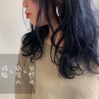 バレイヤージュ ストリート ロング 前髪なし ヘアスタイルや髪型の写真・画像