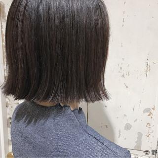 ボブ ナチュラル ハイライト 切りっぱなし ヘアスタイルや髪型の写真・画像