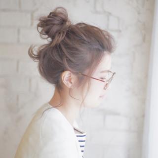 お団子 ゆるふわ セミロング 簡単ヘアアレンジ ヘアスタイルや髪型の写真・画像