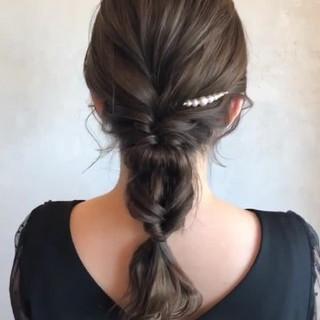簡単ヘアアレンジ 結婚式 ナチュラル ロング ヘアスタイルや髪型の写真・画像
