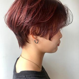 レッドブラウン モード ショート レッド ヘアスタイルや髪型の写真・画像