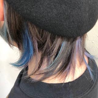 ハイライト インナーカラー ボブ グラデーションカラー ヘアスタイルや髪型の写真・画像