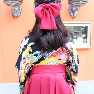 ヘアアレンジ ロング 学校 ハーフアップ ヘアスタイルや髪型の写真・画像