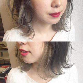 ロブ ガーリー インナーカラー ボブ ヘアスタイルや髪型の写真・画像 ヘアスタイルや髪型の写真・画像