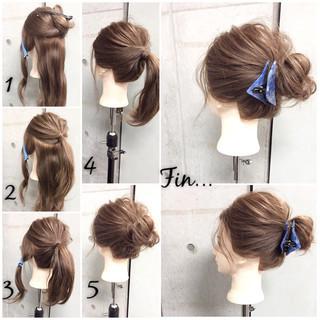 ヘアアレンジ ラフ シニヨン ショート ヘアスタイルや髪型の写真・画像