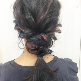 ピンク 簡単ヘアアレンジ ヘアアレンジ ブルー ヘアスタイルや髪型の写真・画像