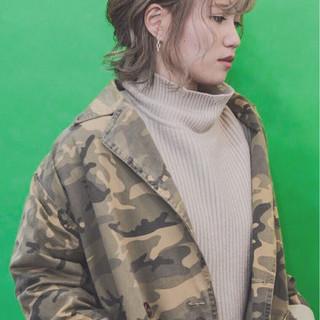 ヘアアレンジ フェミニン ミルクティーベージュ ボブ ヘアスタイルや髪型の写真・画像