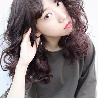 グラデーションカラー ラベンダーピンク モード ロング ヘアスタイルや髪型の写真・画像
