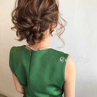二次会 フェミニン ヘアアレンジ 結婚式 ヘアスタイルや髪型の写真・画像