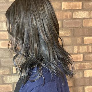 艶髪 透明感 セミロング ハイライト ヘアスタイルや髪型の写真・画像