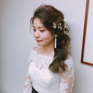 結婚式髪型 ヘアアレンジ ロング フェミニン ヘアスタイルや髪型の写真・画像