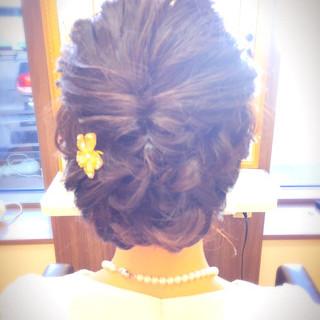 ナチュラル ボブ 結婚式 くるりんぱ ヘアスタイルや髪型の写真・画像