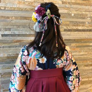 フェミニン ゆるふわ ヘアアレンジ 謝恩会 ヘアスタイルや髪型の写真・画像