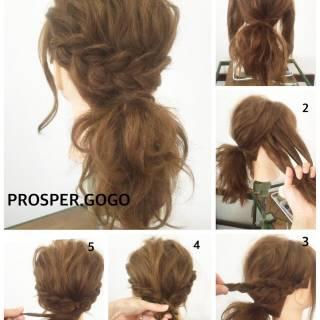 ヘアアレンジ ナチュラル 簡単ヘアアレンジ セルフヘアアレンジ ヘアスタイルや髪型の写真・画像
