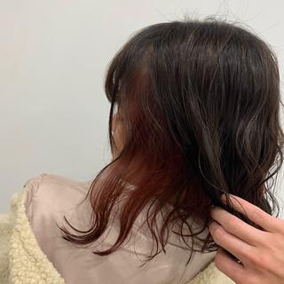 インナーカラー N.オイル フェミニン ミディアム ヘアスタイルや髪型の写真・画像