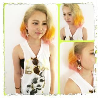 イエロー オレンジ ロング ネオンカラー ヘアスタイルや髪型の写真・画像