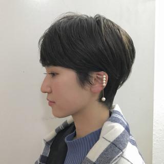 ウェットヘア ストレート 暗髪 ショート ヘアスタイルや髪型の写真・画像