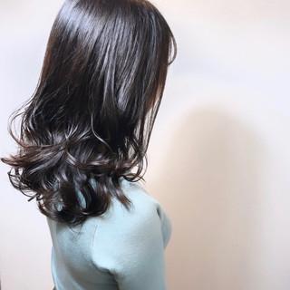 ブルー ナチュラル ブルーラベンダー セミロング ヘアスタイルや髪型の写真・画像