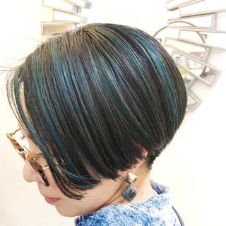 ユニコーンカラー インナーカラー ハイライト ナチュラル ヘアスタイルや髪型の写真・画像