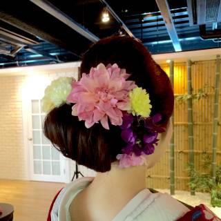 ヘアアレンジ コンサバ 和装 着物 ヘアスタイルや髪型の写真・画像