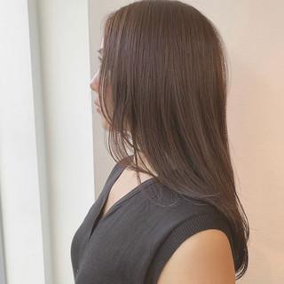 美髪 透明感カラー セミロング 美シルエット ヘアスタイルや髪型の写真・画像
